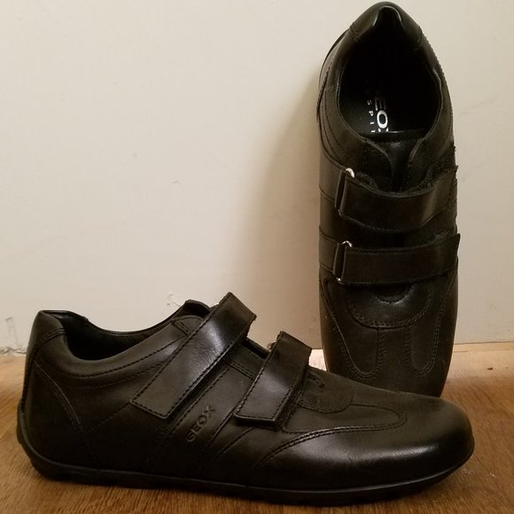 geox black leather shoes